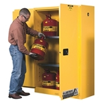 Flammable Storage Cabinet, Cap. 45 Gallons, 18 IN. D, 43 IN. W, 65 IN. H, Manual Close